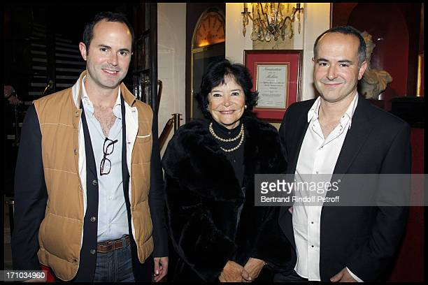 Marie Josee Nat and her sons Aurelien and David Drach at Homage To JeanClaude Brialy At Theatre Des Bouffes Parisiens