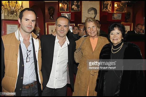 Marie Josee Nat her sons Aurelien and David Drach Madame Alain Flammarion at Homage To JeanClaude Brialy At Theatre Des Bouffes Parisiens