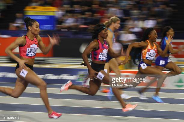 Marie Josee Ta Lou of Ivory Coast wins her 60m heat during the Muller Indoor Grand Prix at Emirates Arena on February 25 2018 in Glasgow Scotland
