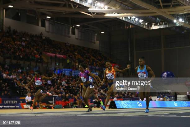 Marie Josee Ta Lou of Ivory Coast wins the women's 60m final from Dina AsherSmith of Great Britain during the Muller Indoor Grand Prix at Emirates...