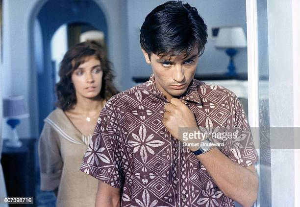 "Marie Laforet and Alain Delon on the set of ""Plein Soleil""."