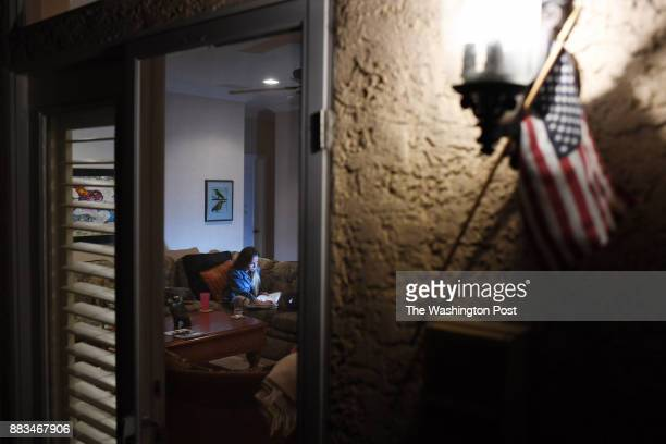 Marie Langer does homework at her family's home on Sunday October 08 2017 in Las Vegas NV Marie was at the Route 91 Harvest Festival when suspected...