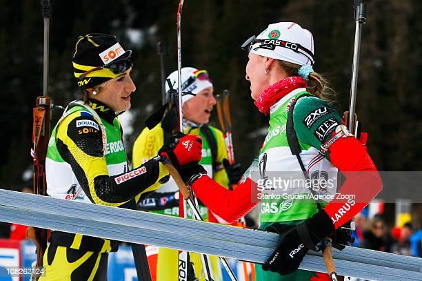 Marie Laure Brunet of France take 2nd place Darya Domracheva of Belarus takes 3rd place during the IBU World Cup Biathlon Women's 125 km Mass Start...