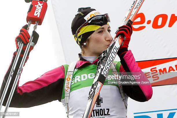 Marie Laure Brunet of France take 2nd place during the IBU World Cup Biathlon Women's 125 km Mass Start on January 23 2011 in AntholzAnterselva Italy