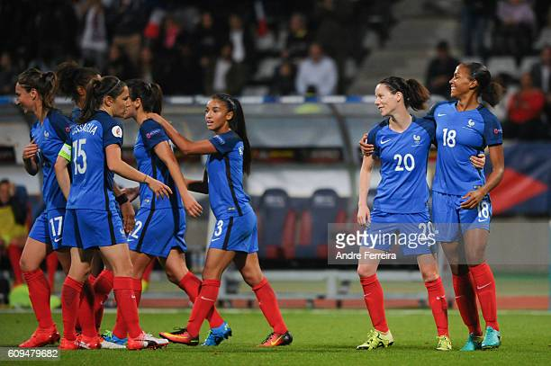 Marie Laure Delie of France celebrates her goal with Aanig Butel of France and France Playes during the UEFA Women's EURO 2017 qualification match...