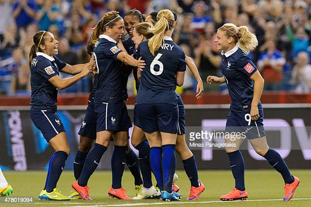 Marie Laure Delie of France celebrates her goal with teammates during the 2015 FIFA Women's World Cup Round of 16 match against Korea Republic at...