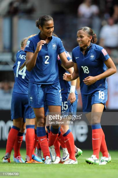 Marie Laure Delie of France celebrates with Wendie Renard and other team mates after scoring his teams first goal during the FIFA Women's World Cup...
