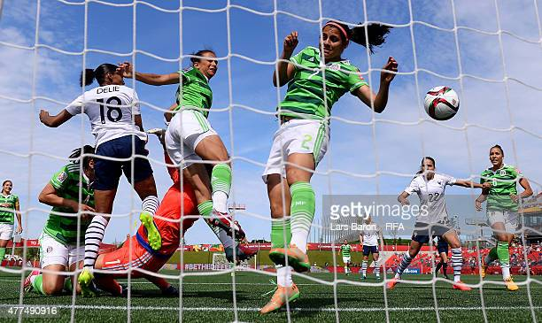 Marie Laure Delie of France heads her teams first goal during the FIFA Women's World Cup 2015 Group F match between Mexico and France at Lansdowne...