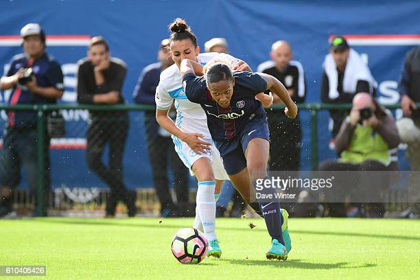 Marie Laure Delie of PSG and Kelly Gadea of Marseille during the women's French D1 league match between PSG and Olympique de Marseille at Camp des...