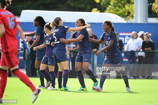 Marie Laure Delie of PSG celebrates after she heads the only goal of the game during the women's French D1 league match between PSG and Olympique de...