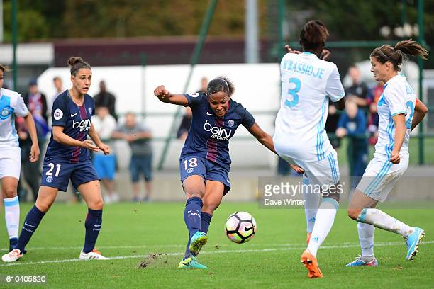 Marie Laure Delie of PSG during the women's French D1 league match between PSG and Olympique de Marseille at Camp des Loges on September 25 2016 in...