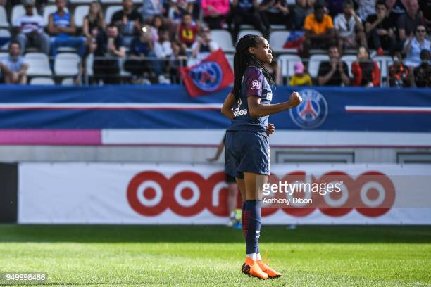 Marie Laure Katoto of PSG celebrates a goal during the French Women's Division 1 match between Paris Saint Germain and Marseille at Stade Jean Bouin...