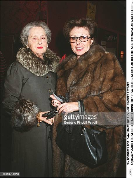 Marie Louise De Clermont Tonnerre and her daughter preview at the Montparnasse theater for the benefit of the association Shcool at the hospital
