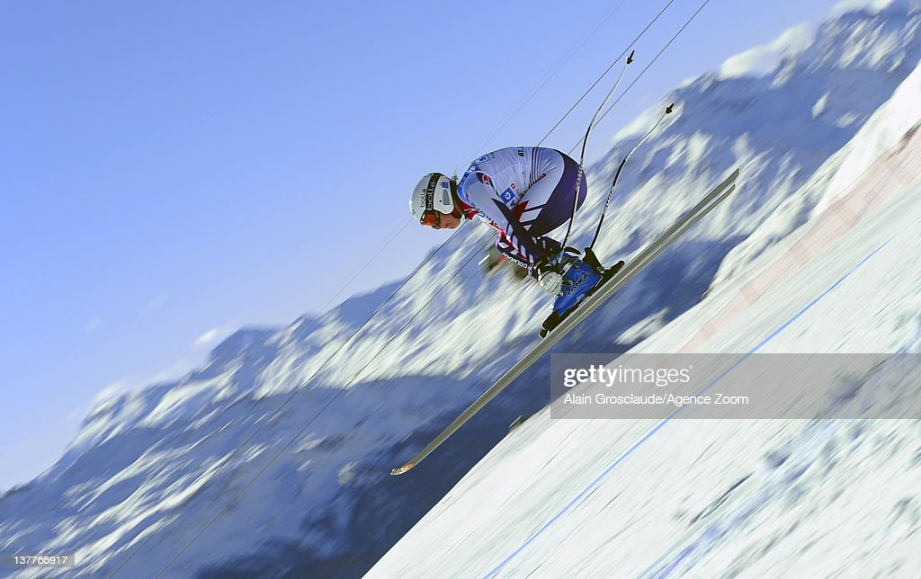 Marie Marchand-Arvier of France skis during the Audi FIS Alpine Ski World Cup Women's Downhill Training on January 26, 2012 in St.Moritz, Switzerland.