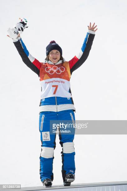 Marie Martinod France during the women's skiing halfpipe flower ceremony at the Pyeongchang 2018 Winter Olympics on February 20th 2018 at the Phoenix...