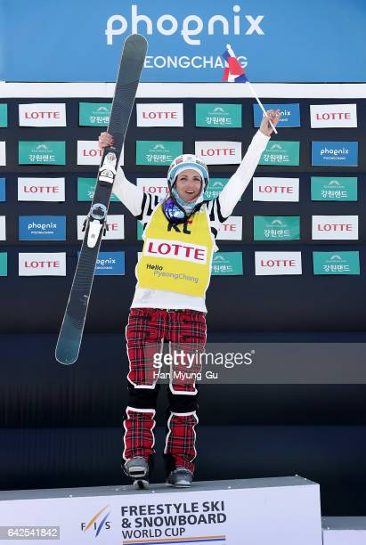 Marie Martinod from France celebrates after finishing in first place in the FIS Freestyle Ski World Cup Ladies' Halfpipe Finals at Bokwang Snow Park...