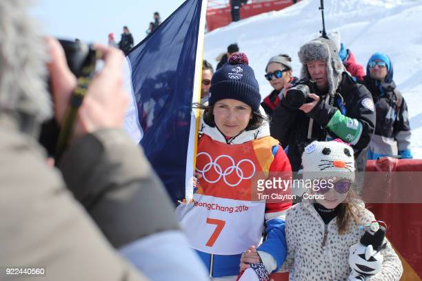 Marie Martinod of France after winning the silver medal with daughter Melirose during the Freestyle Skiing Ladies' Ski Halfpipe Final at Phoenix Snow...