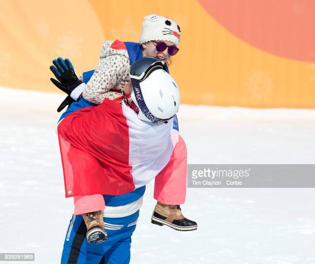 Marie Martinod of France after winning the silver medal with her daughter Meli Rose during the Freestyle Skiing Ladies' Ski Halfpipe Final at Phoenix...