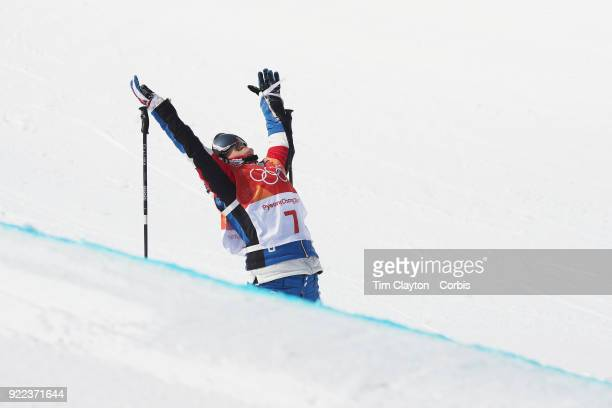 Marie Martinod of France celebrate winning the silver medal during the Freestyle Skiing Ladies' Ski Halfpipe Final at Phoenix Snow Park on February...