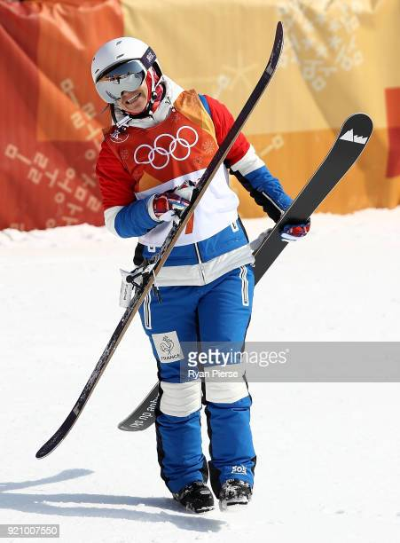 Marie Martinod of France celebrates after claiming the Silver Medal during the Freestyle Skiing Ladies' Ski Halfpipe Final on day eleven of the...