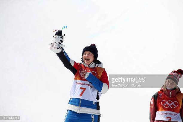 Marie Martinod of France celebrates after winning the silver medal during the Freestyle Skiing Ladies' Ski Halfpipe Final at Phoenix Snow Park on...