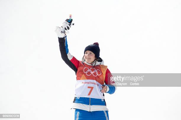 Marie Martinod of France celebrates on the podium after winning the silver medal during the Freestyle Skiing Ladies' Ski Halfpipe Final at Phoenix...