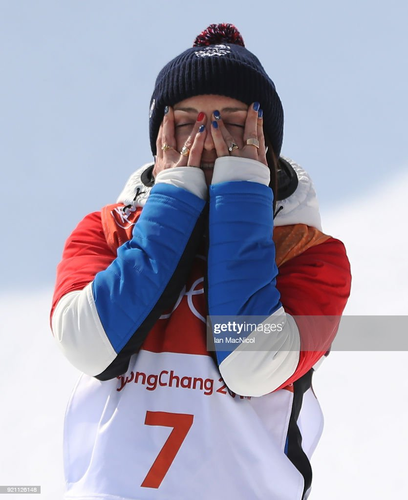 Marie Martinod of France celebrates winning Silver in the Women's Ski Halfpipe final at Phoenix Snow Park on February 20, 2018 in Pyeongchang-gun, South Korea.