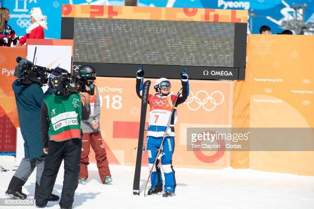 Marie Martinod of France celebrates winning the silver medal during the Freestyle Skiing Ladies' Ski Halfpipe Final at Phoenix Snow Park on February...