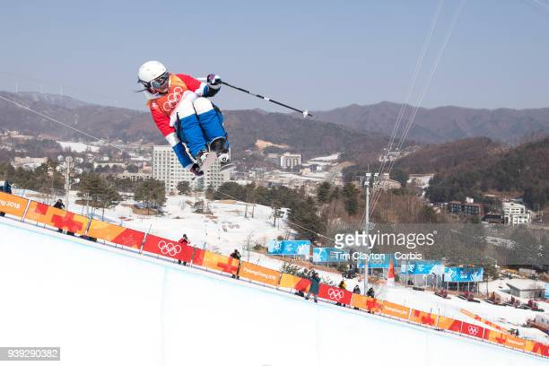 Marie Martinod of France in action during the Freestyle Skiing Ladies' Ski Halfpipe Final at Phoenix Snow Park on February 20 2018 in PyeongChang...