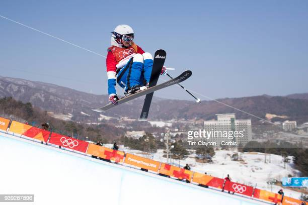 Marie Martinod of France in action while winning the silver medal during the Freestyle Skiing Ladies' Ski Halfpipe Final at Phoenix Snow Park on...