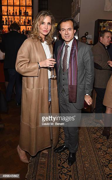 Marie Moatti and Stephane Ruffier Meray attend 'The Art Of Flying' book launch reception at Maison Assouline on December 2 2015 in London England