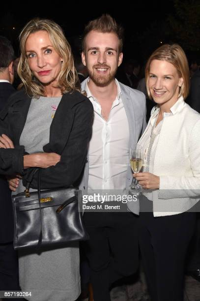 Marie Moatti Christopher WIlson and Kalina Boyadjiew attend The Dragon Group's sixth anniversary celebrations on October 3 2017 in London England