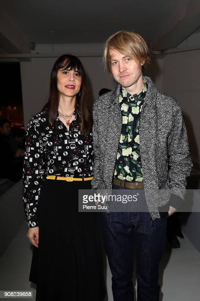 Marie Modiano and Peter Van Poehl attend the Agnes B Menswear Fall/Winter 20182019 show as part of Paris Fashion Week on January 21 2018 in Paris...