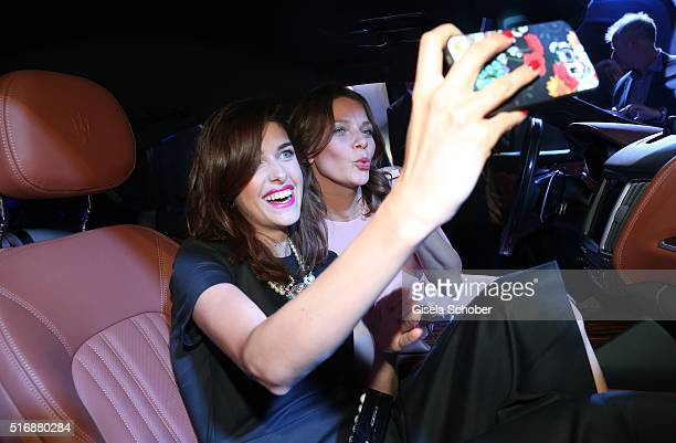 Marie Nasemann and Jessica Schwarz during the Maserati 'Levante' Launch event on March 21 2016 in Frankfurt am Main Germany