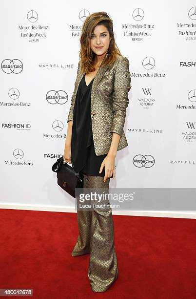 Marie Nasemann attends the Dimitri show during the MercedesBenz Fashion Week Berlin Spring/Summer 2016 at Brandenburg Gate on July 9 2015 in Berlin...