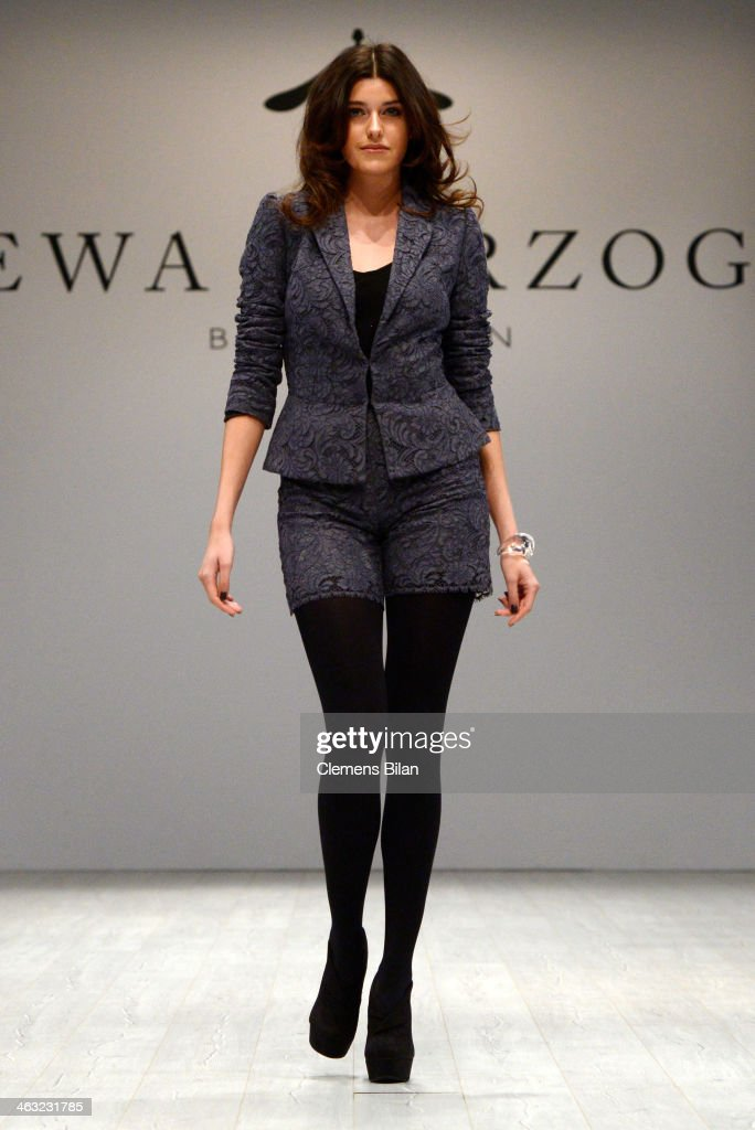 Marie Nasemann walks the runway at the Ewa Herzog show during Mercedes-Benz Fashion Week Autumn/Winter 2014/15 at Brandenburg Gate on January 17, 2014 in Berlin, Germany.