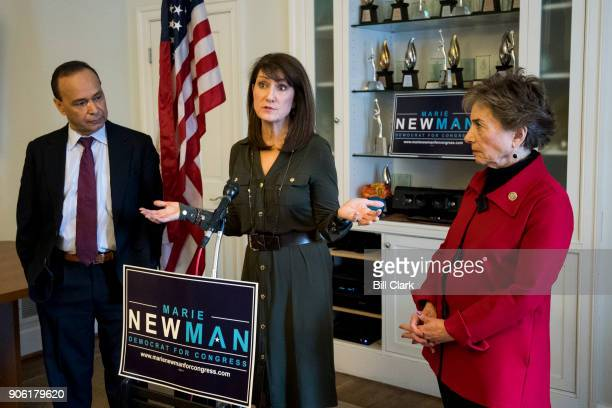 Marie Newman center candidate for Congress in IL03 speaks during event to receive the endorsement of Reps Jan Schakowsky DIll right and Rep Luis...
