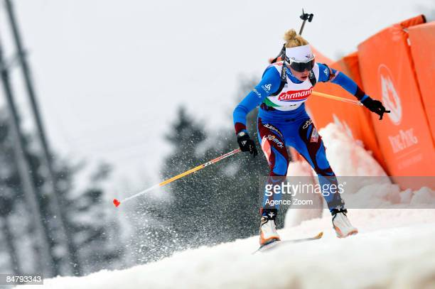 Marie of France takes 42th place during the IBU Biathlon World Championships Womens Sprint event on February 14, 2009 in Pyeong Chang, Korea.