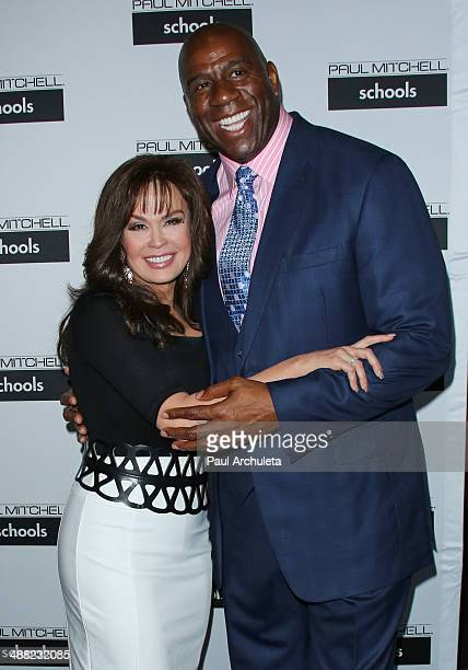 Marie Osmond and Earvin 'Magic' Johnson attend Paul Mitchell Schools' 11th annual FUNraising Gala at The Beverly Hilton Hotel on May 4 2014 in...