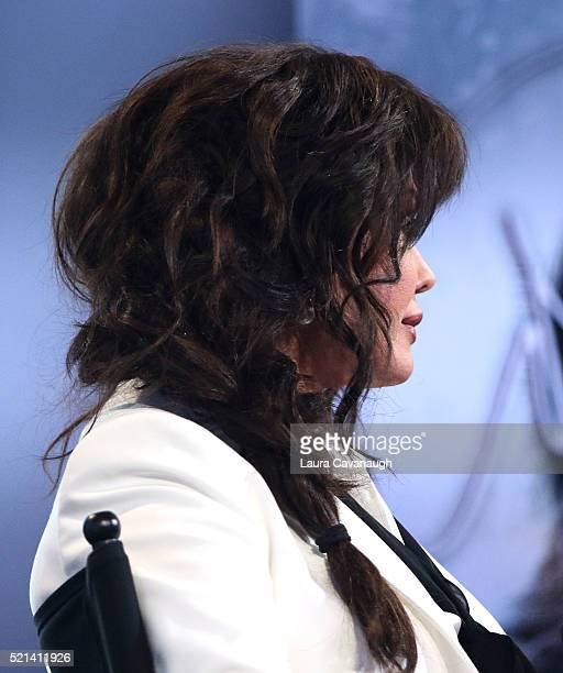 Marie Osmond hair detail attends AOL Build Speaker Series to discuss Music is Medicine at AOL Studios In New York on April 15 2016 in New York City