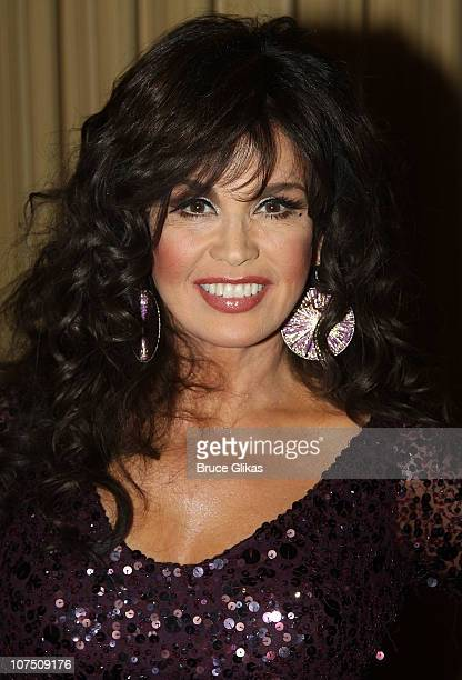 Marie Osmond poses on her opening night of Donny Marie A Broadway Christmas at the Marriott Marquis Theater on December 9 2010 in New York City