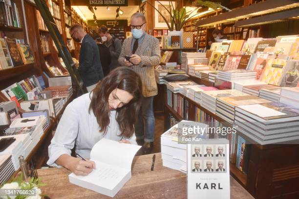 "Marie Ottavi attends ""Karl"" by Marie Ottavi Book Signing at Librairie Galignagni on September 21, 2021 in Paris, France."