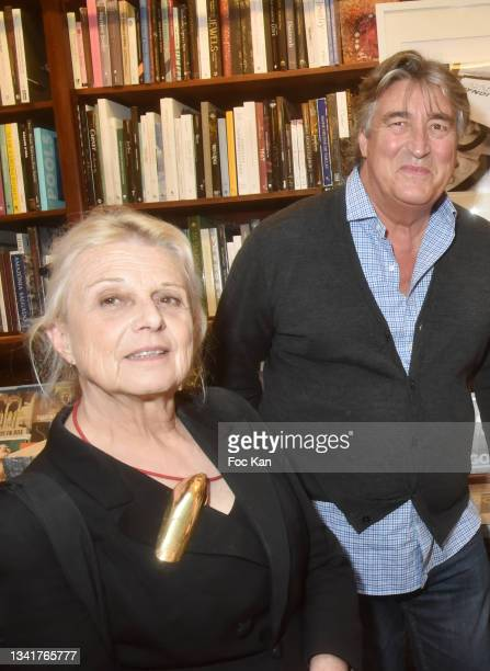 """Marie Paule Pelle and Didier Ludot attend """"Karl"""" by Marie Ottavi Book Signing at Librairie Galignagni on September 21, 2021 in Paris, France."""