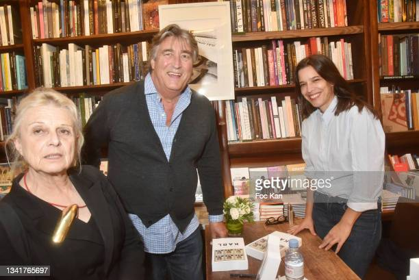 """Marie Paule Pelle, Didier Ludot and Marie Ottavi attend """"Karl"""" by Marie Ottavi Book Signing at Librairie Galignagni on September 21, 2021 in Paris,..."""