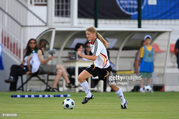 Marie Pollmann of Germany runs with the ball during the Women's U19 European Championship match between Germany and Norway at Valle du Cher stadium...