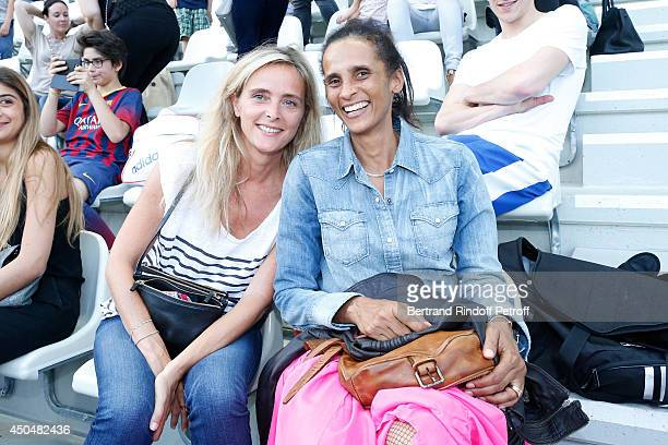 Marie Poniatowski and actress Karine Silla attend the Football match for the benefit of the association 'Plus fort la vie' at Stade Jean Bouin on...