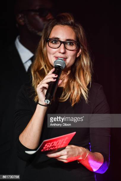 Marie Portolano during press conference ahead of the fight on October 13 2017 in Paris France