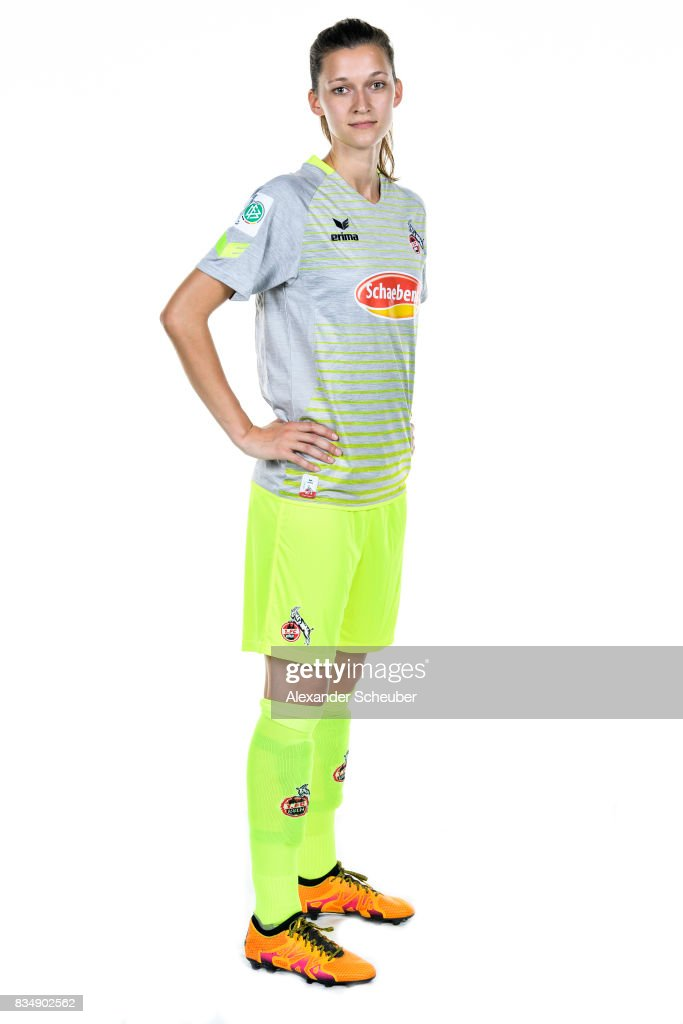 Marie Pyko of 1. FC Koeln poses during the Allianz Frauen Bundesliga Club Tour at on August 16, 2017 in Cologne, Germany.