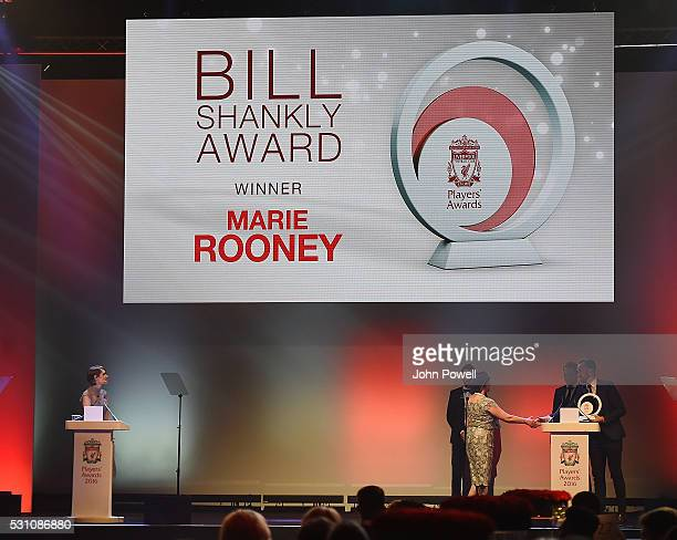 Marie Rooney wins the Bill Shankly Community award at the Liverpool FC End of Season Awards at The Exhibition Centre on May 12 2016 in Liverpool...