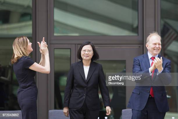 Marie Royce assistant secretary of the US Bureau of Educational and Cultural Affairs left Tsai Ingwen Taiwan's president center and William Moser...